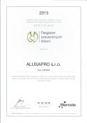 certifikát 2 - zimné záhrady, zádveria, terasy, deliace priečky | Alusa pro