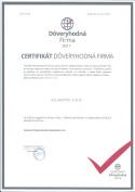 certifikát 1 - zimné záhrady, zádveria, terasy, deliace priečky | Alusa pro
